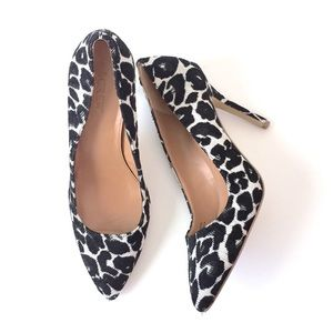 J Crew black patterned fabric pointed heels